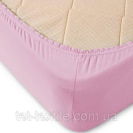 Простынь на резинке однотонная Тет-Текстиль бледно-розовая 160х200+20, фото 2