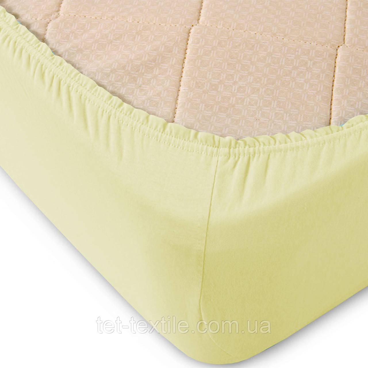 Простынь на резинке однотонная Тет-Текстиль ванильная 160х200+20
