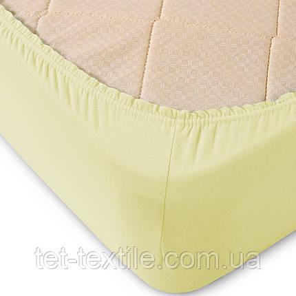 Простынь на резинке однотонная Тет-Текстиль ванильная 160х200+20, фото 2