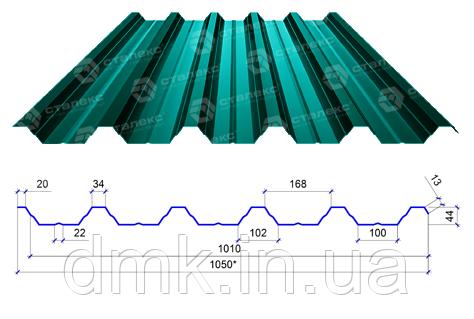 Сталекс Профнастил ПН-44 0,50 PE RAL 6005 Сировина Optima Steel
