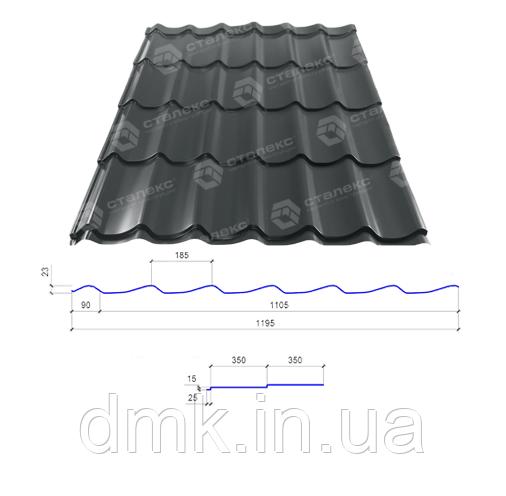 Сталекс Металлочерепица GRAND 0,45*1195 PEMA RAL 7024 Сировина Optima Steel