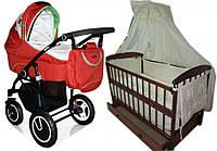 Акция! Комплект! Коляска 2 в 1 С3011 Geoby + кроватка Наталка+ матрас кокос+ набор постельного 8 эл.