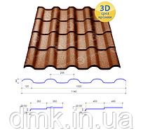 Сталекс Металлочерепица ALPINA 400/20 0,45*1140 PEMA RAL 8017 Сировина Optima Steel