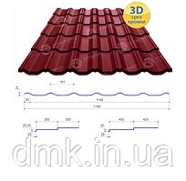 Сталекс Металлочерепица MAXIMA 350/20 0,43*1195 PE RAL 3005 Сировина Optima Steel