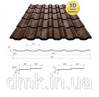 Сталекс Металлочерепица MAXIMA 350/30 0,45*1195 PE RAL 8017 Сировина Optima Steel