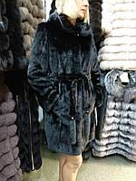 Шуба норковая натуральная черная с капюшоном
