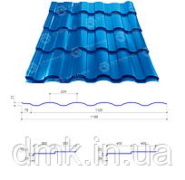 Сталекс Металлочерепица VALENCIA 350/15 0,45*1195 PE RAL 5005 Сировина Optima Steel