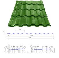 Сталекс Металлочерепица VALENCIA 350/15 0,45*1195 PE RAL 6002 Сировина Optima Steel