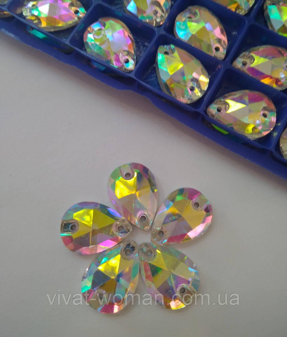 Стрази пришивні Крапля 10х14 мм Crystal AB, скло