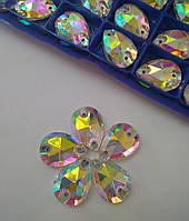 Стрази пришивні Крапля 10х14 мм Crystal AB, скло, фото 1