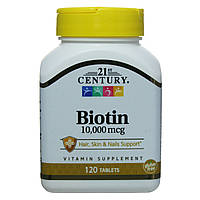 Биотин Ультра Сила 10000 мкг, 120 таблеток, 21st Century. Сделано в США.