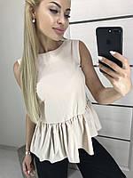 Женская блузка без рукавов с баской ft-2005 бежевая