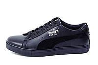 Мужские кожаные кеды в стиле Puma SUEDE Black leather, фото 1