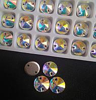 Стразы пришивные Копия Сваровски, Риволи (круг) d8 мм Crystal AB, стекло