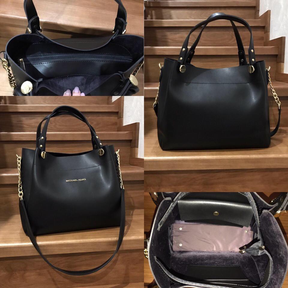 Большая черная кожаная сумка