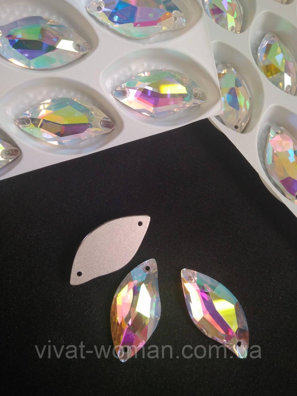 Стразы пришивные Копия Сваровски, Листики 14х30 мм Crystal АВ, стекло