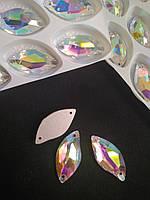 Стразы пришивные Копия Сваровски, Листики 14х30 мм Crystal АВ, стекло, фото 1
