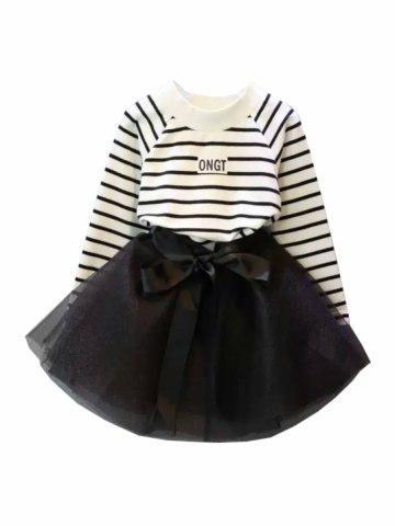 Костюм для девочки футболка с длинными рукавами и юбка 06050 Полоски