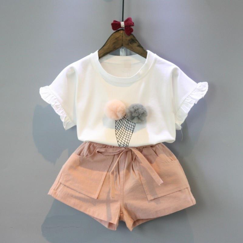 Костюм футболка и шорты June Kids Мороженое рост 110 см белый+розовый 06052