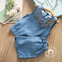 Костюм (блузка + шорты) June Kids Цветы на джинсе 128 см Синий (06053/01), фото 1