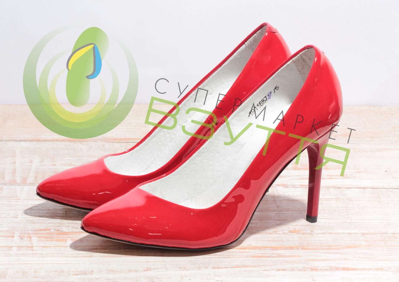 Туфли-лодочки  из натуральной лаковой кожи женские арт. 953 крас 36-40 размеры