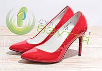 Туфли-лодочки  из натуральной лаковой кожи женские арт. 953 крас 36-40 размеры, фото 1