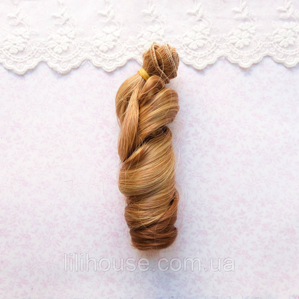 Волосы для кукол локоны волны в трессах, омбре шангрила со светлым - 15 см