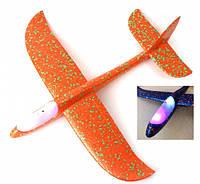 Самолет планер Светится, из пенопласта метательный (оранжевый)