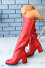Женские красные  зимние сапоги-европейка из натуральной кожи