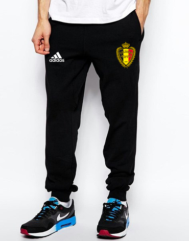 Мужские футбольные штаны Сборной Бельгии, Belgium, черные, фото 2