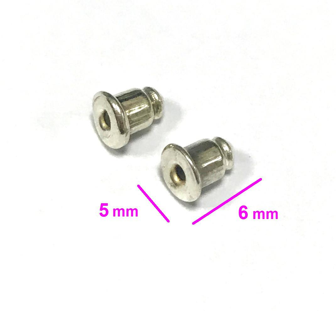 Серебристые Заглушки к сережкам-гвоздикам (упаковка 100 шт), бижутерия
