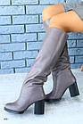 Женские серые зимние сапоги-европейка из натуральной кожи