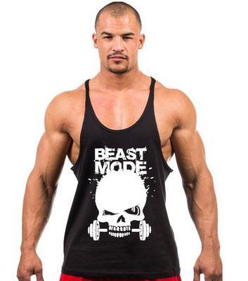"""Майка мужская с тонкими лямками """"Beast Mode"""" черная"""