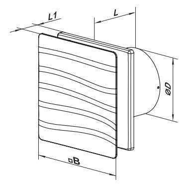 Габаритные размеры бытового вентилятора ВЕНТС 100 Вэйв Т