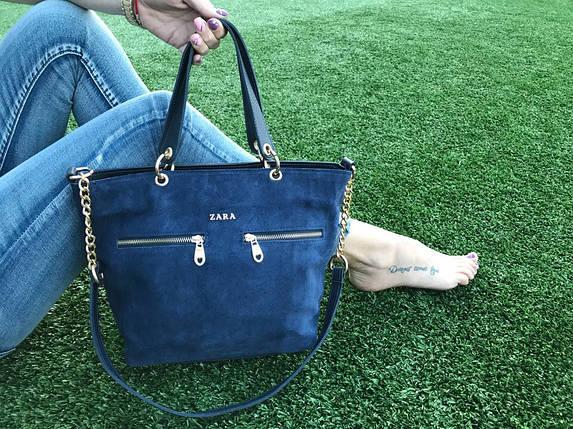 Синяя замшевая сумка, фото 2