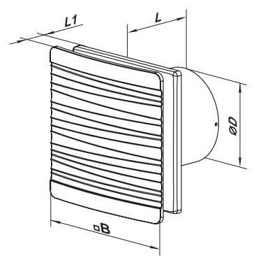 Габаритные размеры бытового вентилятора ВЕНТС 100 Флип