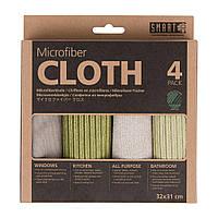 Набор салфеток из микрофибры Smart Microfiber System 4шт в комплекте Зелено серый