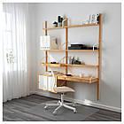 Стол IKEA SVALNÄS 150x35x176 см с креплением к стене бамбук белый 291.844.52, фото 2