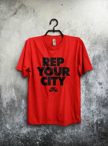 Мужская спортивная футболка Найк, Nike, красная, фото 2