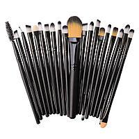 Профессиональные кисти для макияжа, черные , 20 шт