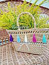 Корзинка сумочка плетеная ручной работы декорированная в этно стиле, фото 3