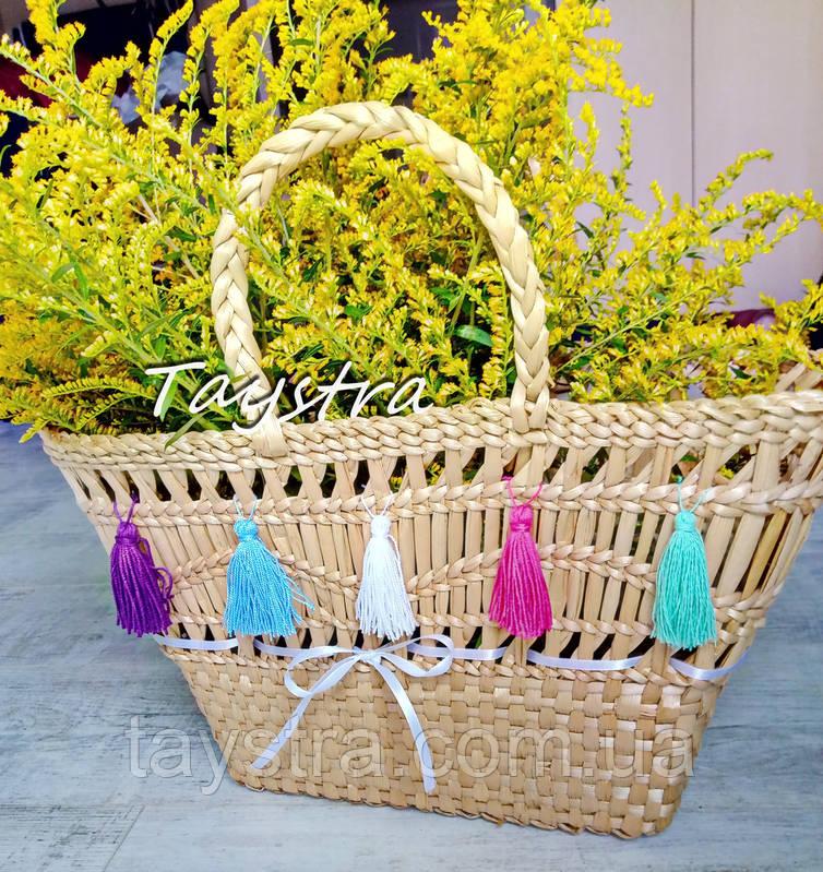 Корзинка сумочка плетеная ручной работы декорированная в этно стиле