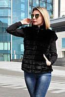 Женский черный жилет из искусственного меха под норку 391427, фото 1