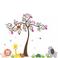 """Наклейка в детскую, на шкаф """"звери на полянке, а сова с обезьянкой на дереве"""" 148см*190см (2листа 60*90см)"""