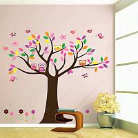 """Наклейка на стену в детскую комнату """"Четыре совы на дереве"""" 105*120см (лист90*60см) на витрину"""