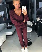 Вязаный шерстяной женский костюм с узорной вязкой на кофте 18KO750