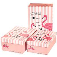 """Набор подарочных коробок """"Фламинго"""" полоски розовый"""