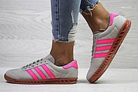 Женские кроссовки Adidas Hamburg серые с розовым  / кроссовки женские Адидас Гамбург
