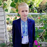 Костюм для мальчика 2018/2019 Golden style, синий в микроклетку, красная петелька(школьная форма) , фото 1
