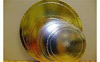 Усиленная золотая подложка под торт круглая диаметр 22 см. Подложка для кондитерских изделий